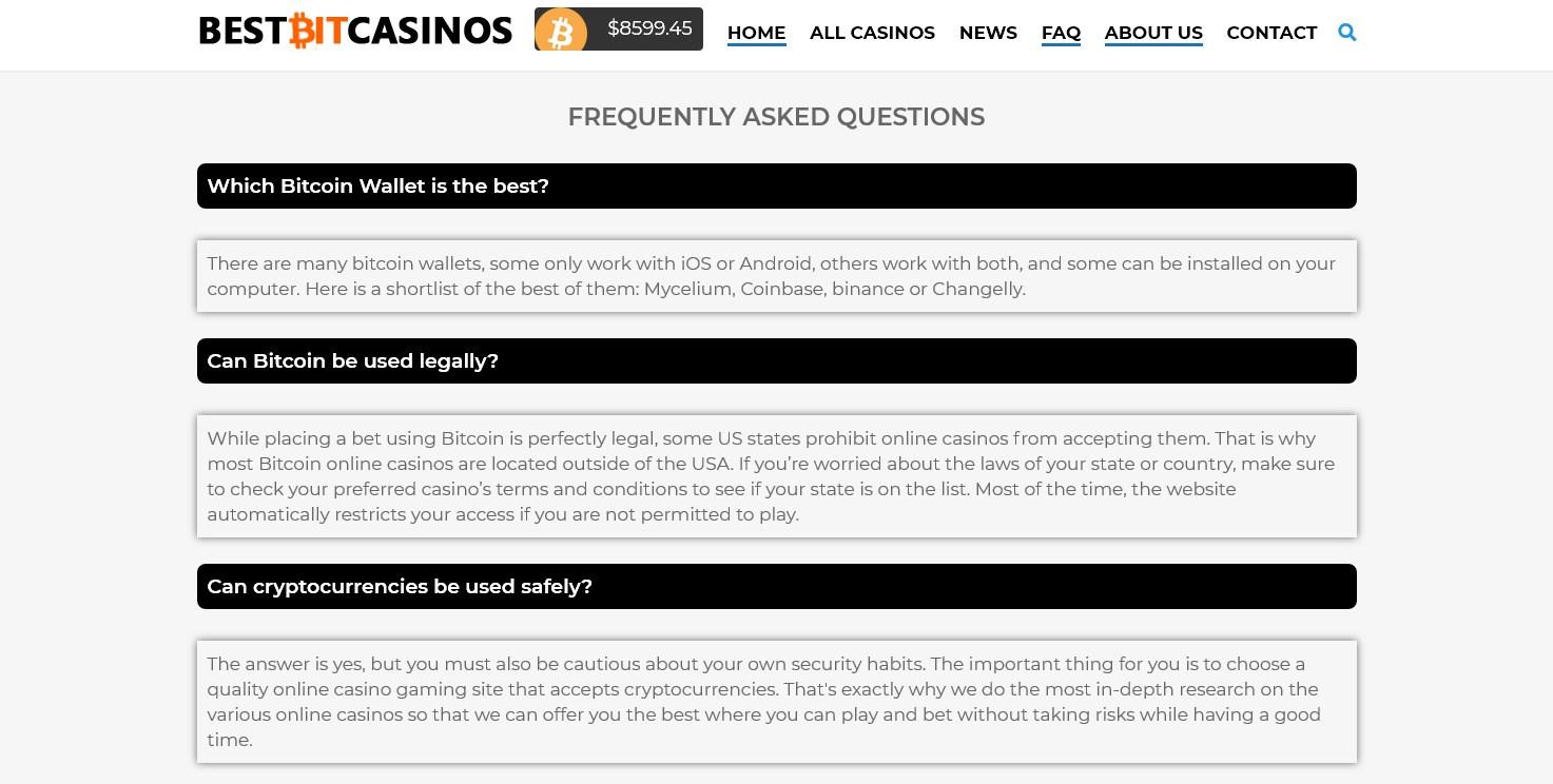 PHoto des FAQ sur BestBitCasinos